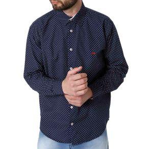 Camisa Manga Longa Masculina Azul G