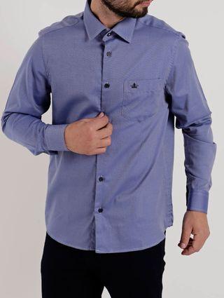 Camisa Manga Longa Masculino Azul