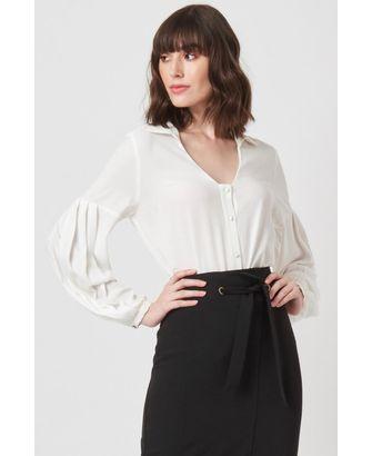 Camisa Manga Plissada Off White