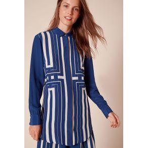 Camisa Marajoara Est Geometrico Marajo Azul Camisa - 34