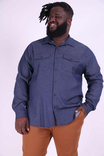 Camisa Masculina Plus Size Azul Marinho G