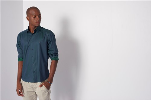 Camisa Menswear Changeant - Verde - G