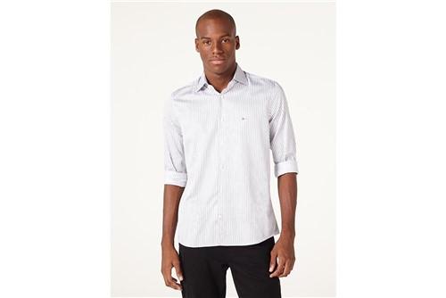 Camisa Menswear Fio 60 Listrado - Branco - G