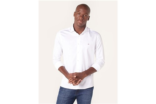 Camisa Menswear Satin Fio 60 - Branco - P