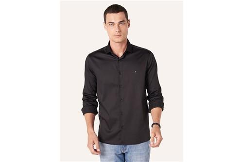 Camisa Menswear Satin Fio 60 - Preto - P