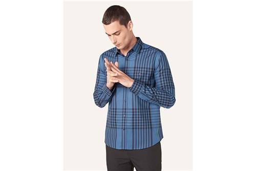 Camisa Menswear Slim Xadrez Rapport - Azul - P