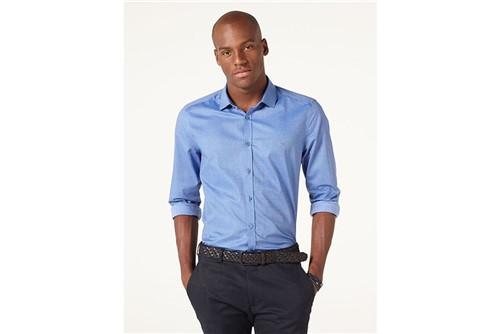 Camisa Menswear Super Slim Mini Print - Azul - GG
