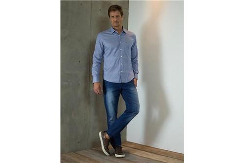 Camisa Menswear Vivo Interno e Bolso - Azul - P