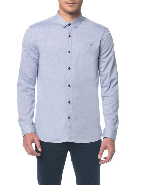 Camisa Ml Ckj Masc Básica Silk Logo - Azul Claro - P