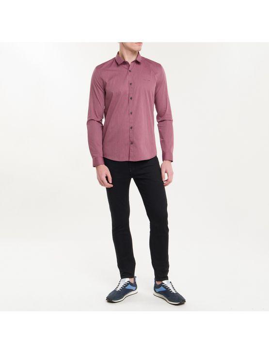 Camisa Ml Ckj Masc Listrada Silk Logo - Bordô - P