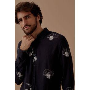 Camisa Ml Linho Oliveira Preto - G