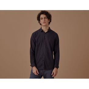 Camisa Ml Linho Poa Preto - P