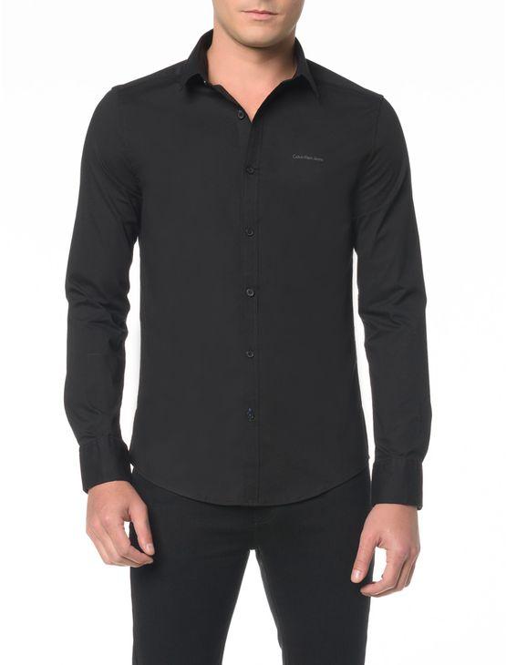 Camisa ML Masc Slim Básica - GG