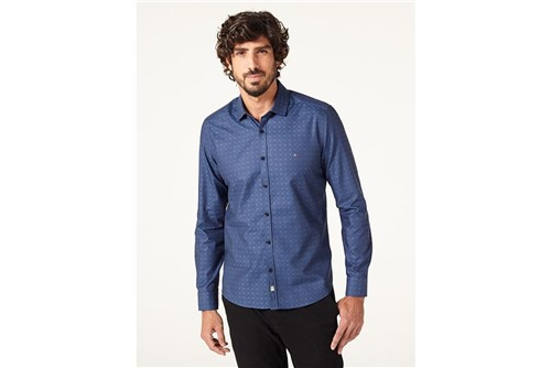 Camisa Night Super Slim Fio 60 - Azul - GG