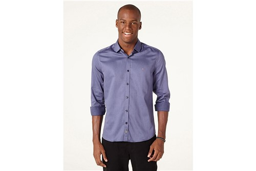 Camisa Night Super Slim Micro Maquineta - Azul - G