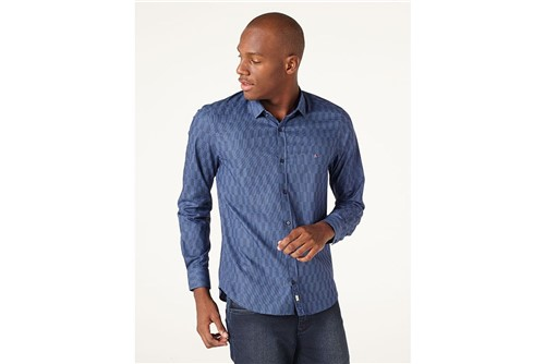 Camisa Night Super Slim Mosaico - Azul - XGG