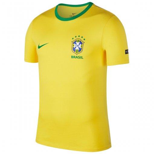 CAMISA NIKE BRASIL 2018 CREST MASCULINA - Amarelo/Verde - Compre Agora | Radan Esportes