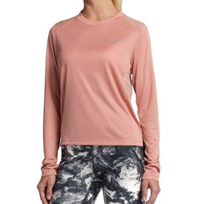 Camisa Nike Manga Longa Miler Rosa Mulher G