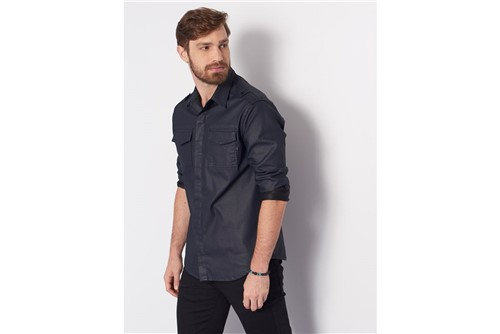 Camisa Overshirt Resinada - Azul - G