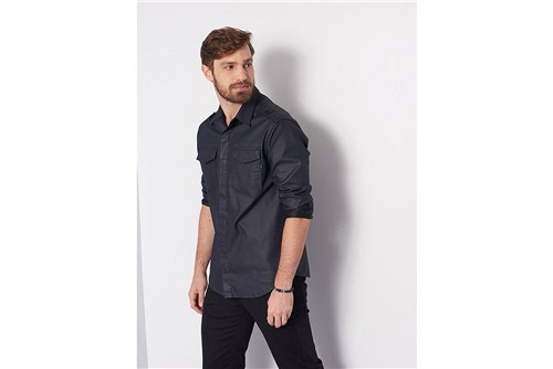 Camisa Overshirt Resinada - Azul - M