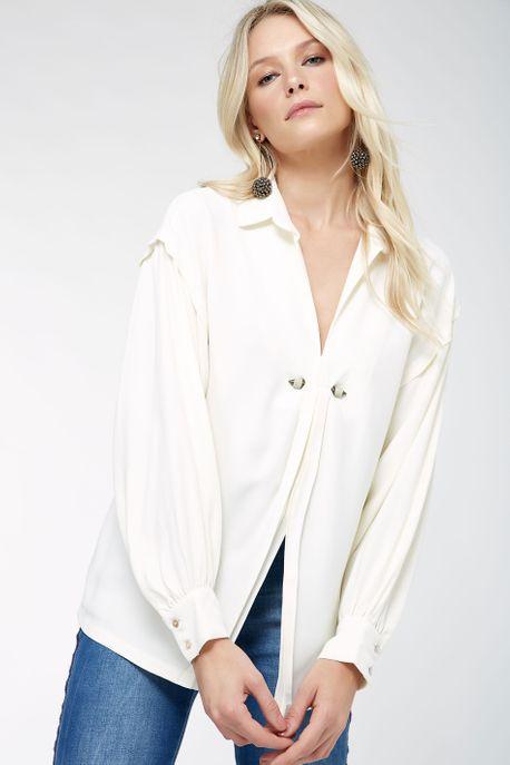 Camisa Piercing Decote Off White - 40