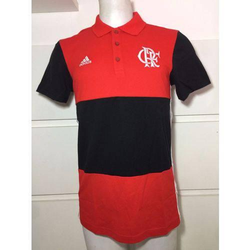 Camisa Polo Flamengo Adidas 3S Listrada Vermelho e Preto