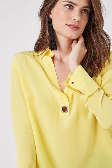 Camisa Polo Ilhós 4 Amarelo Manga - 36