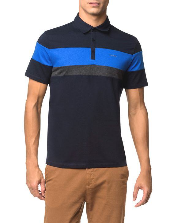 Camisa Polo Liquid Tri Color - Marinho - PP