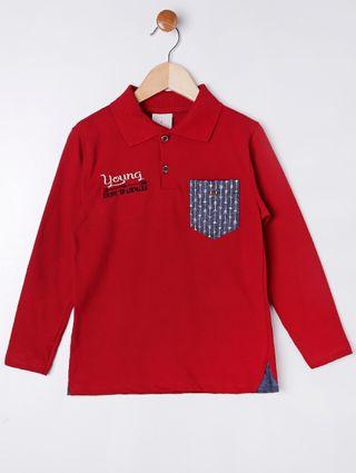 Camisa Polo Manga Longa Infantil para Menino - Vermelho