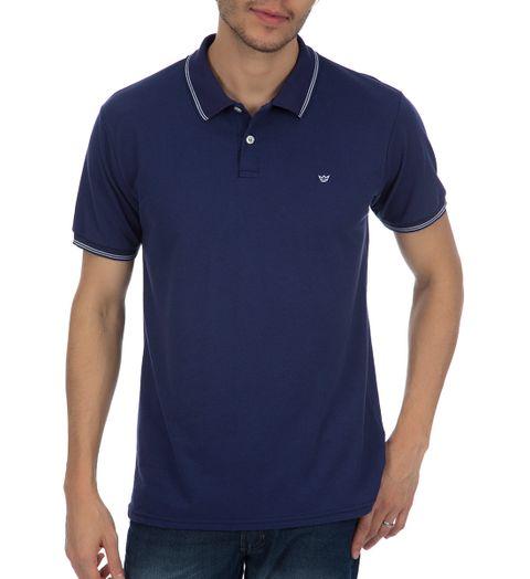 Camisa Polo Masculina Azul com Detalhe - GG