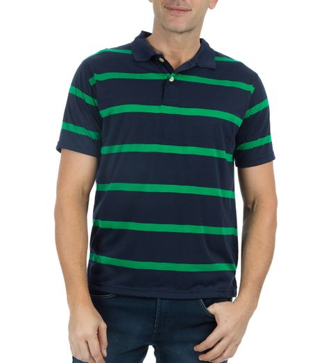 Camisa Polo Masculina Azul Marinho Listrada - P