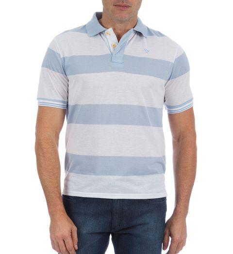 Camisa Polo Masculina Azul Listrada - P