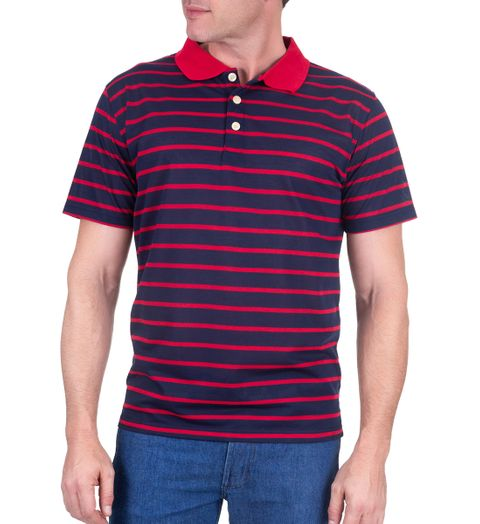 Camisa Polo Masculina Azul Marinho Listrada - G