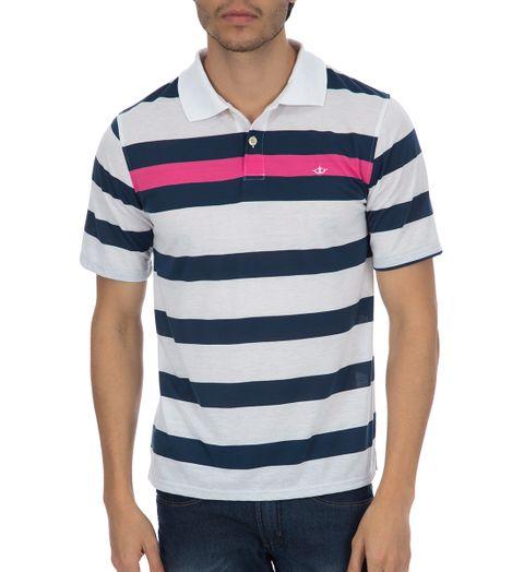 Camisa Polo Masculina Azul Marinho Listrada - M