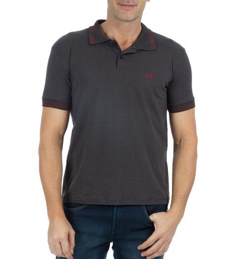 Camisa Polo Masculina Cinza Escuro Estampada - P