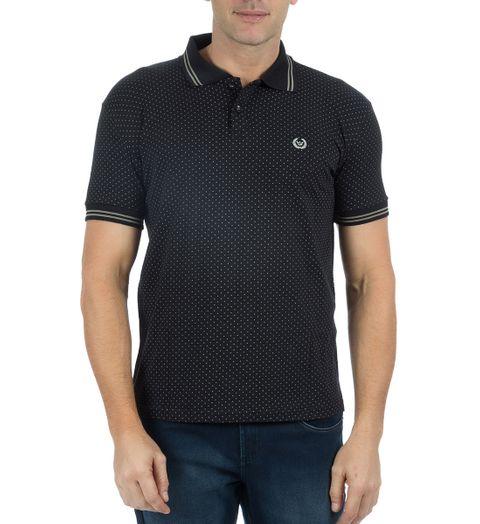 Camisa Polo Masculina Preta Estampada - P