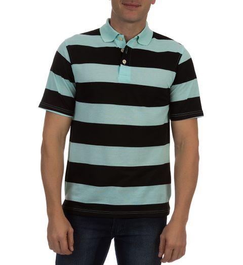 Camisa Polo Masculina Verde Claro Listrada - M