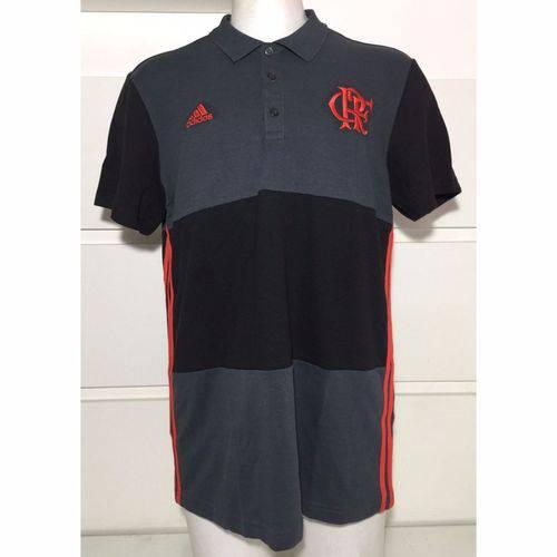 Camisa Polo 3S Flamengo Adidas Listrada Cinza e Preta