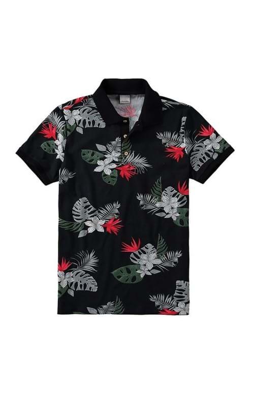 Camisa Polo Slim Floral Malwee Preto - G