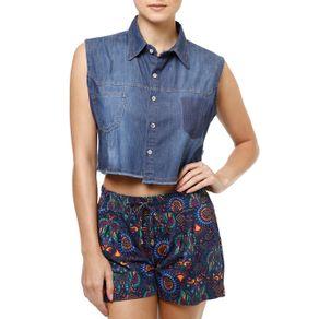 Camisa Regata Jeans Feminina Azul M