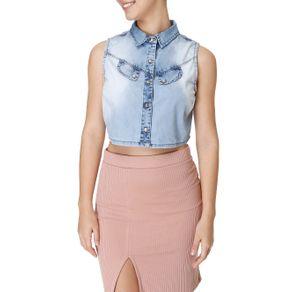 Camisa Regata Jeans Feminina Azul GG