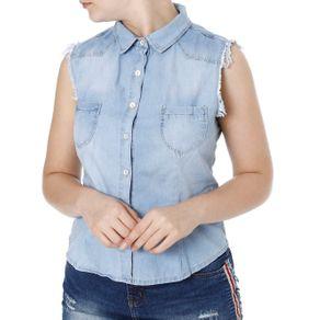 Camisa Regata Jeans Feminina Mokkai Azul GG