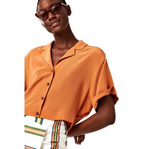 Camisa Botões Margarida Marrom Canela - 36