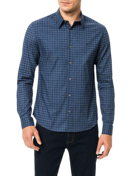 Camisa Slim Calvin Klein Geneva Xadrez Maquinetado Marinho - 3