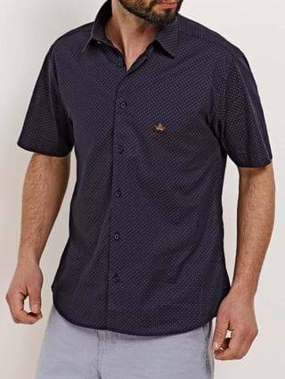 Camisa Slim Fit Manga Curta Masculina Azul Marinho