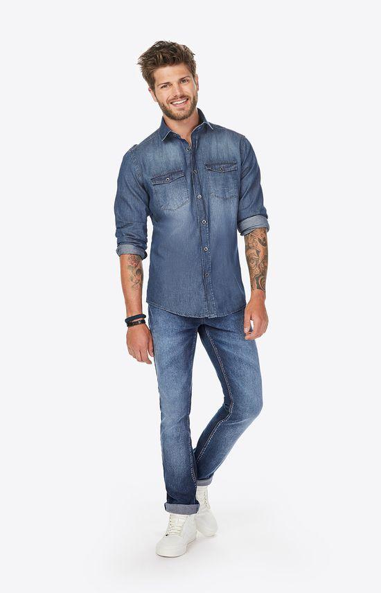 Camisa Slim Jeans Enfim Azul Claro - G