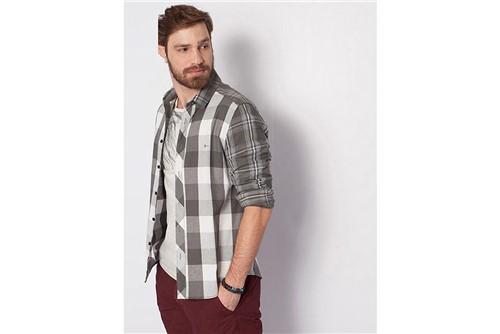 Camisa Slim Jeanswear Mix Xadrez - Chumbo - M