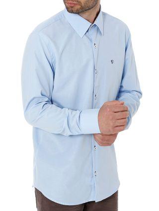 Camisa Slim Manga Longa Masculina Azul
