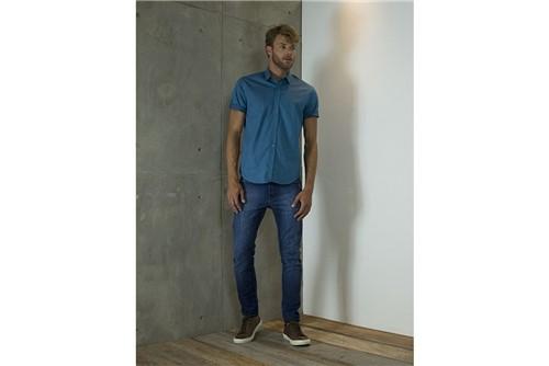 Camisa Slim Menswear Estampa Círculo Vazado - Turquesa - XGG