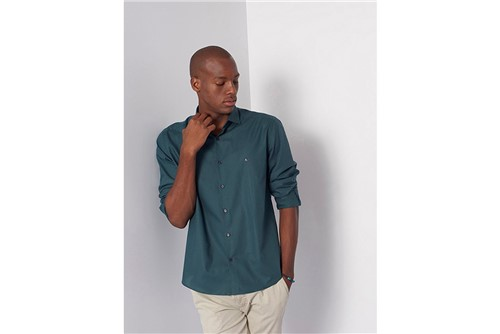 Camisa Slim Menswear Micro Xadrez - Verde - XGG